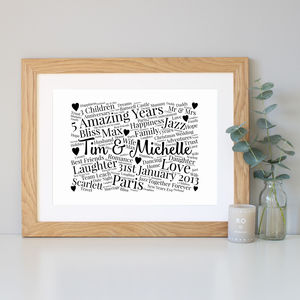 Personalised 5th Anniversary Word Art Gift - dates & special occasions