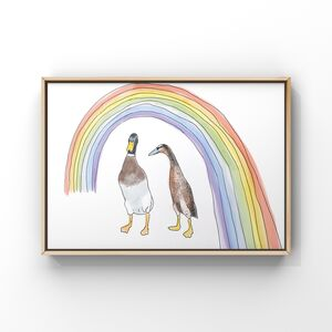 Duck And Rainbow Art Print