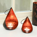 7th Anniversary Black And Copper Tea Light Holder Set