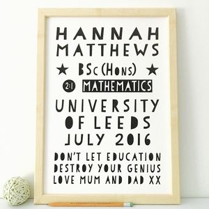 Personalised Graduation Print With 17 Colour Options - typography