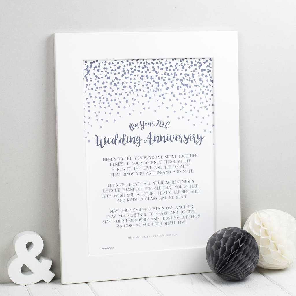 Twentieth Wedding Anniversary Gift: 20th Wedding Anniversary Poem Print By Bespoke Verse