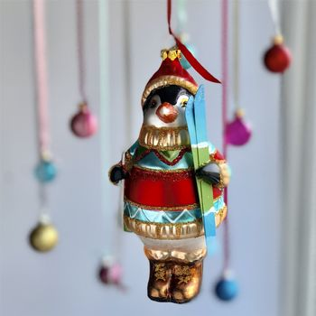 Skiing Penguin Christmas Bauble