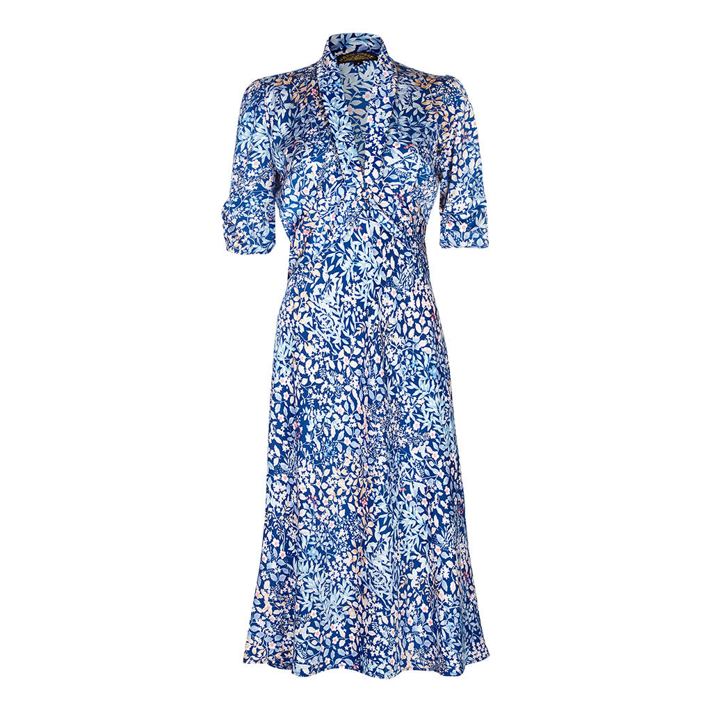 1940\'s style party dress in japan blue floral crepe by nancy mac ...