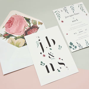 Initial Flower Wedding Stationery