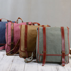 Womens Canvas Leather Backpack
