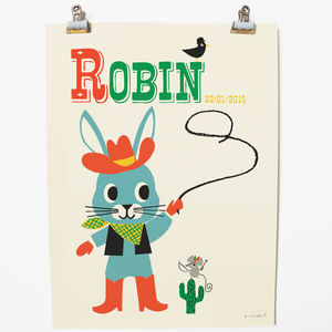 Personalised 'Rodeo Rabbit' Name Print - shop by price