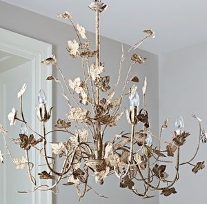 Distressed Bronze Leaf Six Bulb Chandelier - ceiling lights