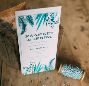 Tropical Leaf Pattern Wedding Day Invitations - wedding stationery