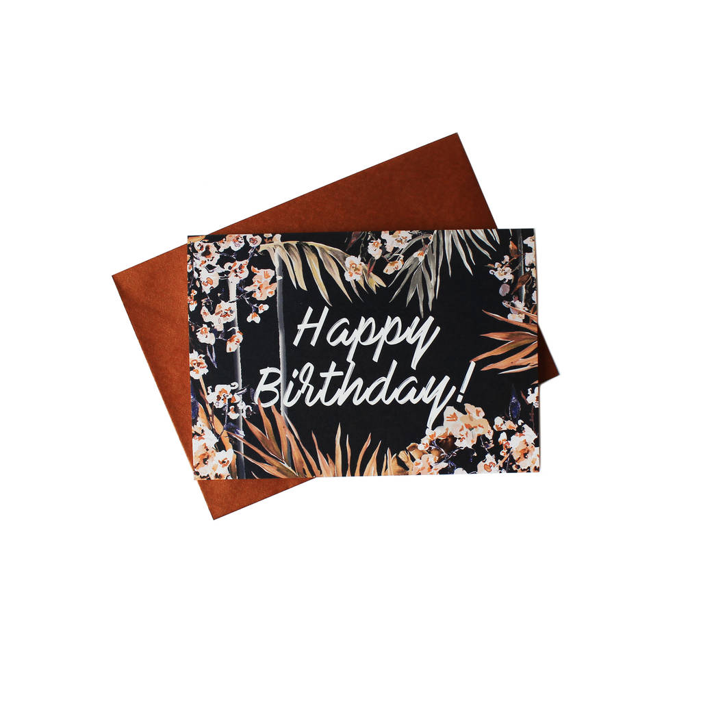 Oriental Palms Happy Birthday Greeting Card