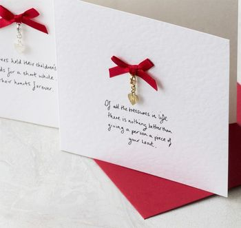 Personalised Gift Cards With Heart Charm Keepsake