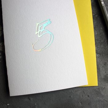 'Number Five' Birthday Holographic Card