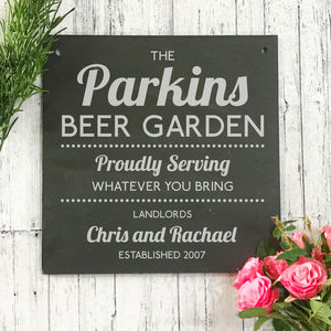Personalised Beer Garden Engraved Slate Sign