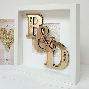 50th Golden Anniversary Deluxe Oak Initials Artwork - dates & special occasions