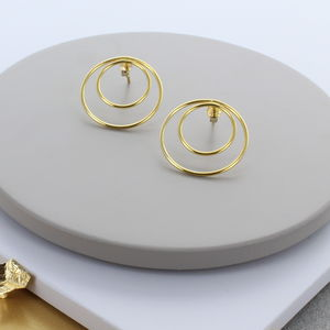 Double Circle Gold Stud Earrings - the halo effect