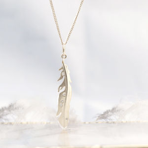 Diamond Set Feather Silver Necklace - birthstone jewellery gifts
