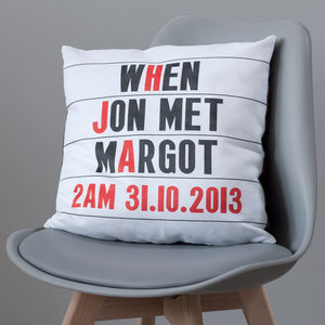 Personalised Cinema Marquee Faux Suede Cushion Cover - gifts for couples