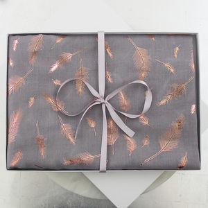 Rose Gold Foil Feather Cotton Scarf - scarves
