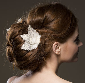 Aphrodite Silver Leaves Bridal Comb - bridal hairpieces