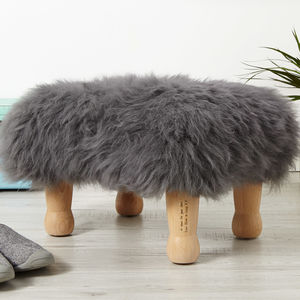 Personalised Baa Sheepskin Footstool - kitchen
