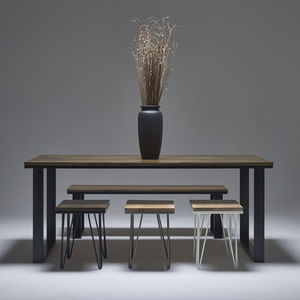 Dark Oak Dining Table With Modern Steel Legs - dining room