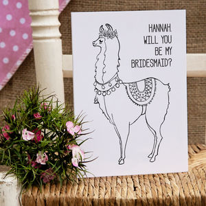 Personalised Llama Bridesmaid Or Flower Girl Card