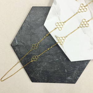Gold Long Honeycomb Geometric Cutwork Necklace - necklaces & pendants
