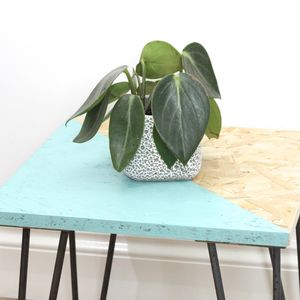 Hairpin Side Table In Teal - side tables