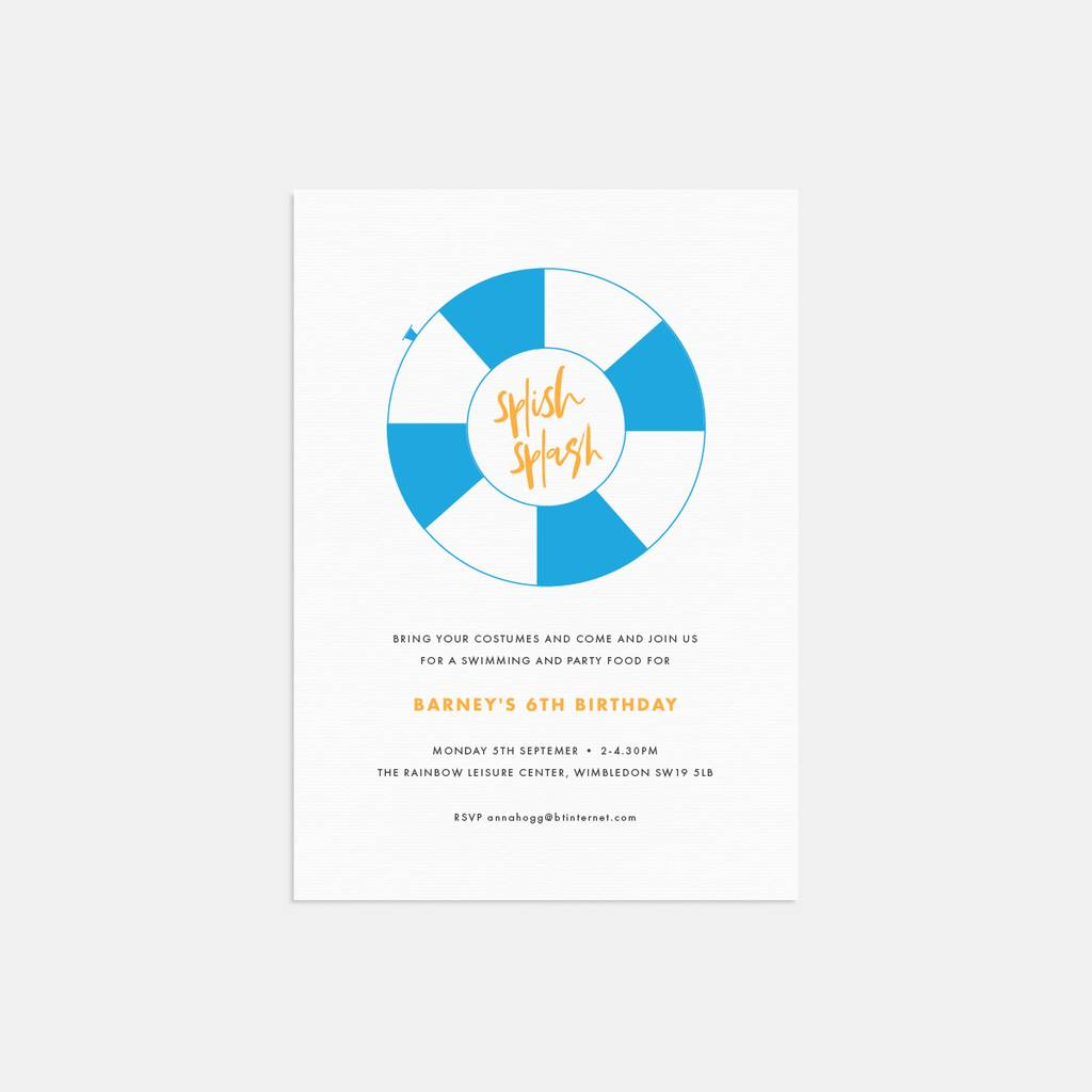pool party personalised birthday party invitations by lola s paperie