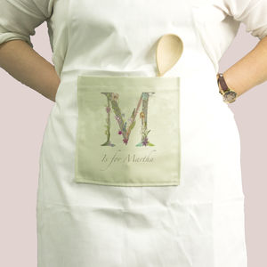Personalised Womans Apron With Botanical Lettering