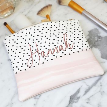 Personalised Name Pink And Polka Dot Wash Bag