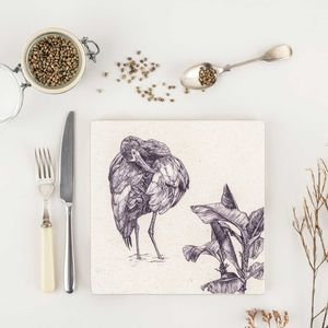 Natural Stone Trivet White Faced Ibis