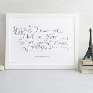 Personalised Print 'When I Saw You, I Fell In Love'