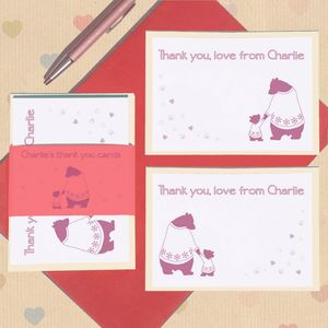 Personalised Bears Thank You Card Set