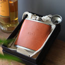 Personalised Hip Flask With Leather Cover