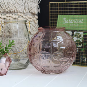 Dusty Pink Embossed Glass Vase - dining room
