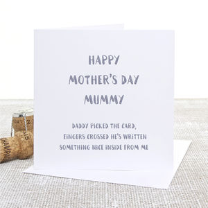 'Daddy Picked The Card' Mother's Day Card