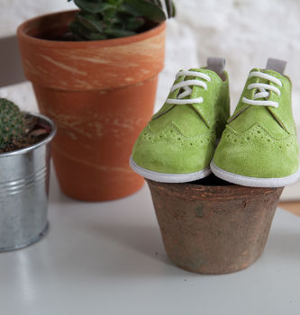 George Suede Soft Sole Baby Brogues in Lime Suede with White Suede sole sitting on a plant pot next to a cactus and succulent