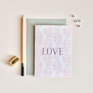 Pink Floral Pattern Love Card