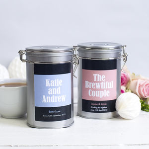 Personalised Couples Tea Gift Tin - teas, coffees & infusions