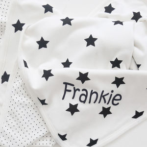 Personalised Star Blanket Black And White - baby shower gifts