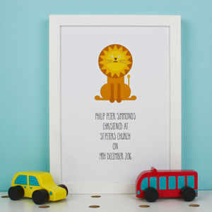 Little Lion Personalised Christening Print - baby's room