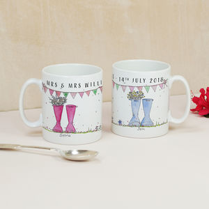 Personalised Wedding 'Mrs And Mrs' Welly Boot Mugs - view all