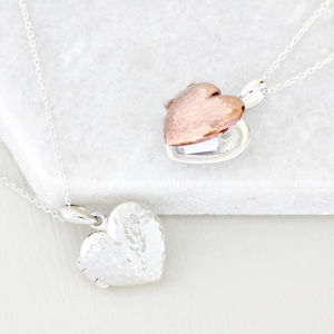 Personalised Message Heart Locket Necklace - 25th anniversary: silver