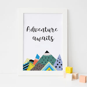 Adventure Awaits Colourful Mountain Art Print - children's room