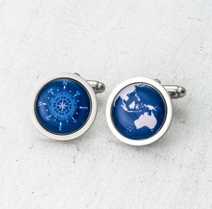 Globe And Compass Cufflinks - cufflinks