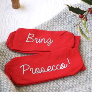 Bring Prosecco Slogan Socks - women's fashion