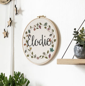 Personalised Baby Floral Wreath Name Hoop - personalised