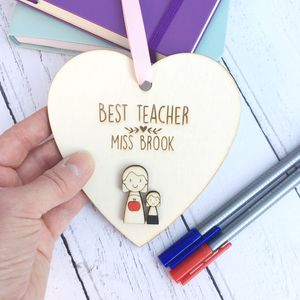 Personalised Best Teacher Thank You Heart - summer sale