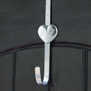 Silver Heart Over Door Wreath Hanger
