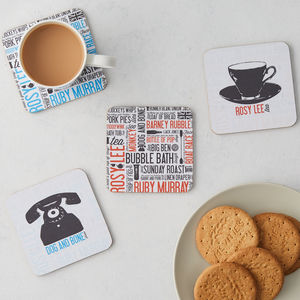 Cockney Rhyming Slang Coaster Set Of Four